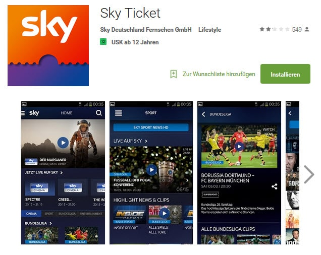 Sky Ticket Android